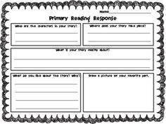 FREEBIE! These versatile primary reading responses can be used for any fiction story!  Consider using them for reading workshop, basal stories, read alouds, homework, and substitutes. I always leave a fiction read aloud and copies of my reading responses in my substitute bin.