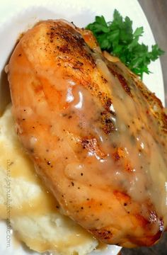 """Slow Cooker """"Roasted"""" Herb Chicken with Gravy"""