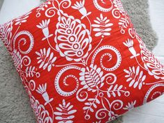 Scandinavian Christmas Pillow Red and white kurbits MADE TO ORDER - Pillow cover - Cushion cover - Folklore - Kurbits. $40.00, via Etsy.