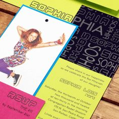 retro Bat Mitzvah invitation by Luscious Verde