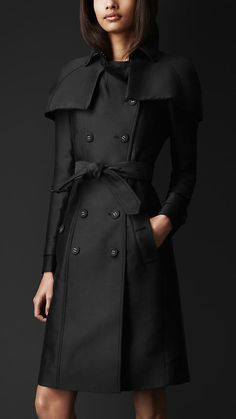 Burberry Prorsum Double Duchess Caped Trench Coat