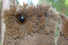 (1) Hometalk :: Burlap Owls on a Lichen Branch Swing