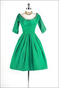 50s Kelly Green Iridescent Taffeta Bow Party Cocktail Dress