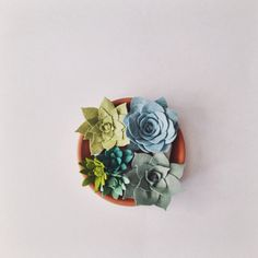 A succulent arrangement made from felt; no watering necessary!