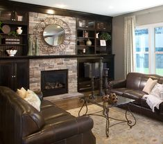 Living Room Fireplace: Echo Ridge COUNTRY LEDGESTONE - Cultured Stone® Brand