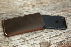 grams28 - iPhone 5 Handmade Leather Case iPhone sleeve with card holder iphone 5 wallet  (italian oil pull-up leather). $42.00, via Etsy.