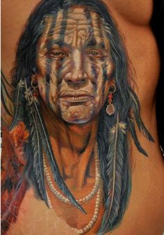 Colorful Native American chest tattoo by DMITRIY SAMOHIN