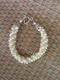 pearl, kumihimo bracelet, bracelet crystal, seed beads
