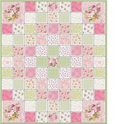 Simply Gorgeous Shabby Cottage Chic Roses Quilt KIT Pinks Greens Fabric Q 11A | eBay (giving me ideas for a 9 patch)