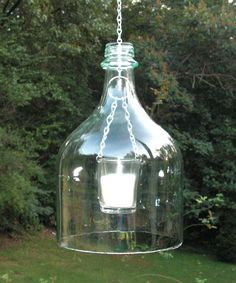 Bottomless wine bottle lantern