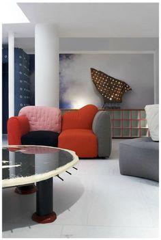 : mismatched cushion sofa