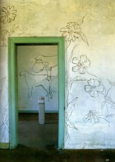 line drawings, french artist, interior, wall decorations, artist decor, hous, jean cocteau, flowers, entrance ways