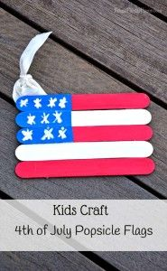 An easy craft the kids can help with. 4th of July popsicle flags.  #4thofJuly #crafts #kids