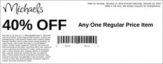 Michaels: 40% off Item Printable Coupon