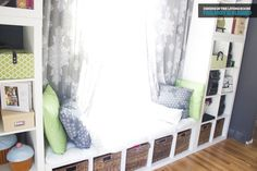built-ins and window seat made of expedit cubes - Ikea_Window Seat _ This Nest Is Blessed