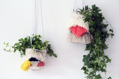 These woven planters are a great stashbuster project. Tutorial by Fall for DIY.