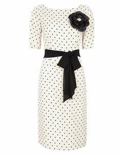 Ivory and black polka dot dress - super cute!