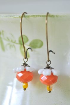 Tangerine bloom.  flower beaded dangle earrings. by tiedupmemories, $13.50