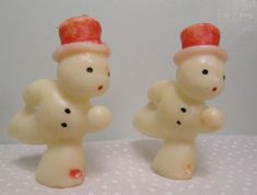 Vintage Gurley Christmas Candles ~ Skating Snowmen