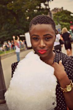 polka dots, short hair dos, big chop, natur hair, red lips, beauti, lipstick, beauty, black girls