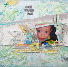 A fun bright layout titled 'Such Googly Eyes'. The background of this layout was created from scratch right down to a homemade mask. I had lots of fun with this!!