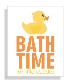 Bathroom Art Print  for Children - Bath Time Rubber Duck - 8x10 Nursery Wall Art, Kids bathroom decor