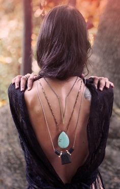 Layered hippie necklaces, boho chic deep v back top. For the BEST Bohemian fashion looks FOLLOW http://www.pinterest.com/happygolicky/the-best-boho-chic-fashion-bohemian-jewelry-gypsy-/ now!