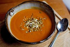 """From the New York Times' """"The United States of Thanksgiving: A Thanksgiving Recipe for Illinois: Pumpkin Soup With Ancho and Apple"""