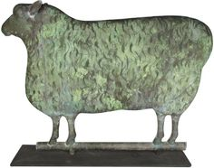 Sold $22,500   Full Body Sheep Weathervane, zinc. Very good original condition. 24 1/2 X 18 X 2 inches.