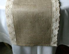 Burlap wedding table runner with Vintage Ivory lace, FALL wedding decor, Vintage chic wedding, , & French country wedding