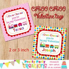 VALENTINE TRAIN favor tags  YOU print  3 by PrettyPartyCreations, $6.25