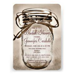Country Mason Jar Rustic Bridal Shower Invitations SOLD on Zazzle