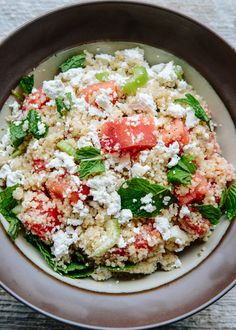 Cubes of sweet watermelon, chunks of crunchy celery, and savory feta cheese — this hybrid between fruit salad and savory salad has lazy lunch written all over it. Whole wheat couscous provides a nourishing base — it needs no cooking, just a few minutes of steaming. What's not to love? To make this salad into a full meal, grilled chicken or shrimp are a perfect match. Or add a plate of dry-cured prosciutto and a bowl of olives alongside your bowl, and call it a day.