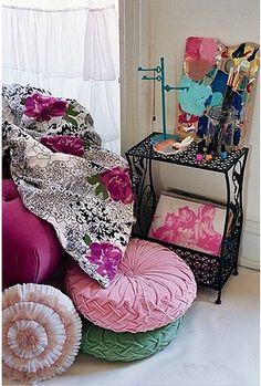 interior design, urban outfitters, cass bird, floor pillows, dream room, pink, end tables, interior urban, bedroom