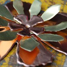 die-cut metal flowers