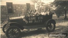 Cape Cod or Bust in 1948! Sisters Bernice & Pauline Liffers with friends on an adventure. It's not far from Wareham to Cape Cod, but by the looks of the car I wonder if it was a bust :) Original: http://www.ancientfaces.com/photo/bernice-pauline-liffers-esther-eugene-bilodeau/350650