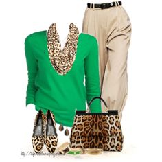"""""""Leopard...and Green!"""" by tufootballmom on Polyvore"""