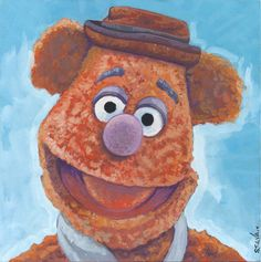 """WAKA WAKA WAKA!"" Fozzie Bear from the Muppets Done on 6x6 inch Aquabord with Winsor & Newton Gouache Paints"