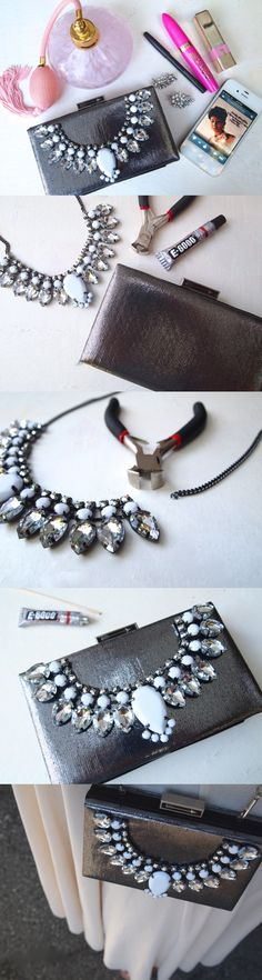 DIY jeweled clutch. Featured on Fashion Diva Design.  I LOVE this quick and easy way of bumping up the style of a clutch!