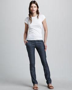 Slim Twill Pants by Vince at Bergdorf Goodman.
