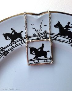 Broken china jewelry necklace antique equestrian horse china made from broken plate