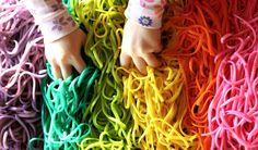 Rainbow Spaghetti Sensory Play  FUN AT HOME WITH KIDS