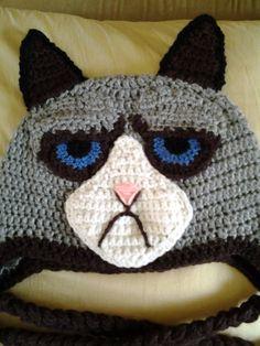 Grumpy Cat Crochet Hat Pattern Free : chapeaux animauxt monstres et personnages au crochet on ...
