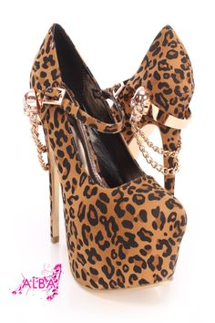 You will be head over heels for these saucy little numbers! They will perfectly compliment any outfit for any occasion! Make sure to add these to your collection, they definitely are a must have! The features for these Maryjane heels include a faux suede upper with a mid strap and side buckle closure, scoop vamp, stitched semi pointed closed toe, high polish accent with a draped chain design and side skull accent on back heel, smooth lining, and cushioned footbed. Approximately 6 1/2 inch ...