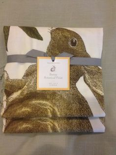 Williams Sonoma 2 BUNNY Easter Kitchen Dish Towels NEW Bunny Botanical Print