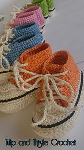 Ravelry: High Top Style Booties- 9-12 months pattern by Tulip and Thistle Crochet Eire