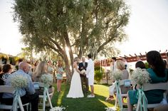 It is an Italian tradition to marry under an olive tree for good luck.    Outdoor California Wedding at Miramonte Resort and Spa