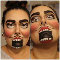 DIY Halloween face paint. Nutcracker. Costume. Black. Red.White.