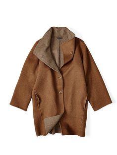 Alpaca Two-Tone Oversize Coat