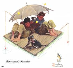 Fisherman's Paradise fisherman illustration, norman rockwell, printnorman rockwel, rockwel art, artnorman rockwel, children art, paradis printnorman, paradise, fisherman paradis